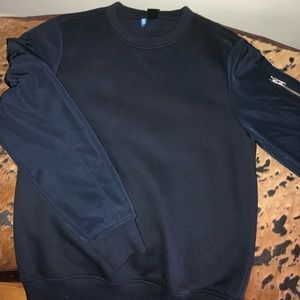 Navy blue crew neck with micro polyester arms